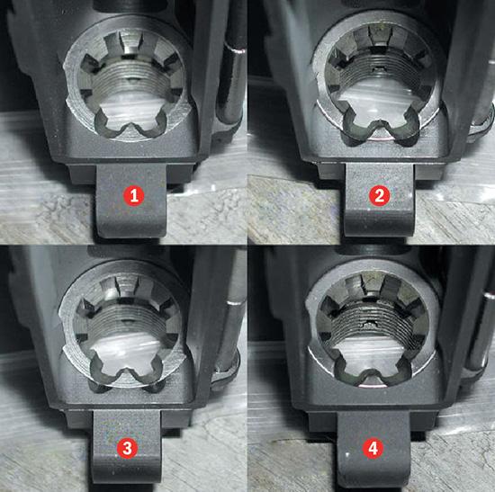 Для корректной подачи патрона из магазина верхний ресивер и barrel extension должны быть одного типа: 1) винтовочный ресивер, винтовочный extension; 2) карабинный ресивер, карабинный extension; 3) карабинный ресивер, винтовочный extension (плохое сочетание); 4) винтовочный ресивер, карабинный extension