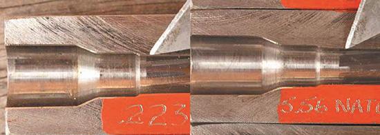 Область ствола,  ведущая к нарезам, называется пульным входом. У 5,56  NATO он выполнен более свободным и более глубоким, чтобы обеспечить  работу с низкокачественными патронами