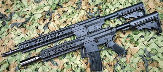 Канадские карабины North Eastern  Arms NEA-15 предоставляют выбор длины ствола (от 10,5 дюймов, внизу) и  калибров (от 5,56 NATO до 7,62х39)