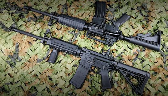 Карабин Norinco CQ-A (вверху)  обычно приобретают для дальнейшего самостоятельного тюнинга. Но  встречаются варианты AR-15 и с заводским тюнингом — например, Bushmaster  M4 MOE в обвесе от Magpul (внизу)