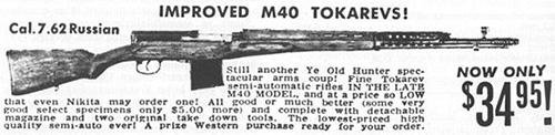 В конце 50-х  годов фирма Interarmco закупила в Финляндии большое количество  различного оружия, в том числе и винтовок Токарева, для продажи на  внутреннем рынке США. На иллюстрации рекламное объявление часто  встречавшееся в американских оружейных журналах начала 60-х годов