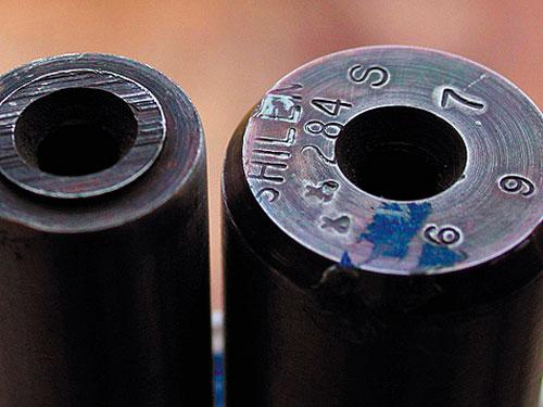 Ствольные заготовки с «автографом» известного производителя Эда Шилена. Современные стволы винтовок производят из американской нержавеющей стали 416. (416-я сталь содержит: 83,39% железа, 14,00% хрома, 0,15% углерода, 1,25% марганца, 1,00% кремния, 0,15% серы и 0,06% фосфора).
