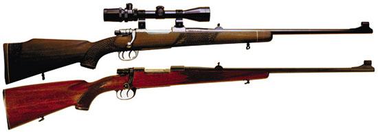 Охотничьи карабины LK-70 со шнеллерным спусковым механизмом. Сверху — 1-й тип с установленной оптикой; снизу — 2-й тип.