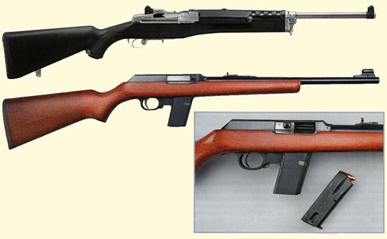 Карабин: вверху - Ruger Mini Thirty под русский военный патрон 7,62х39.  Изображена версия в нержающем исполнении с ложей из черного пластика.  Mini Thirty появился в качстве компактного карабина для охоты на среднюю  дичь, например, на белохвостого оленя. Внизу - Marlin Camp Carbine?  имеющийся в калибрах 9 mm Luger и .45 ACP (на снимке - вариант под  патрон 9 mm Luger). Эта чрезвычайно компактная модель задумывалась, в  первую очередь, как оружие самообороны, однако в 1980-х годах завоевала  популярность в развлекательной стрельбе, в так называемом «плинкинге».