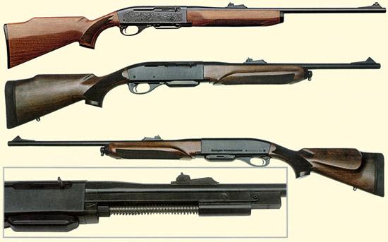 Remington с моделью 740 Woodmaster стал в 1955 году первым американским  производителем современных газоотводных карабинов под патроны категории  .30-06 Springfield. За ней последовали модели 742, 7400 и Four, имевшие  аналогичное устройство. Вверху изображен Remington 7400. В 2006 году на  основе данного модельного ряда была создана модель 750 Woodmaster,  имевшая ложу с новым дизайном и антабки (в середине). Внутри цевья  размещена газоотводная система (внизу).