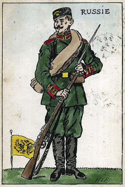 Трехлинейная винтовка стала символом России. Это хорошо иллюстрирует французская открытка времен Первой мировой.