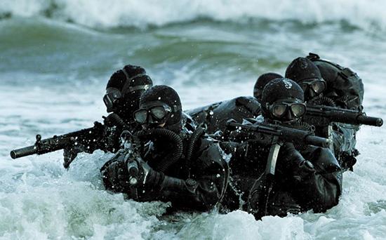 Благодаря своей точности, надежности, модульности и неприхотливости MP5  заслужил признание специальных подразделений по всему миру. На снимке—  польские боевые пловцы из спецподразделения GROM с MP5-MTS3A3 (SD6)