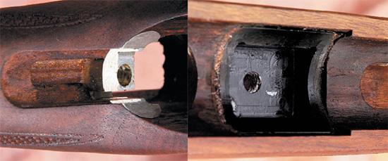Вырезы в ложе для размещения нижней поверхности ресивера. Передняя часть  опорной поверхности (фото сверху) имеет покрытие из полимера, а в  задней части (фото снизу) предусмотрена разгружающая алюминиевая вставка