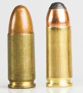 9х19 (слева) и 9х21. Заметна разница в длине гильзы