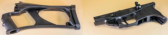 Приклад с пистолетной рукояткой и нижний ресивер. В нише позади шахты магазина видна клавиша фиксатора магазина