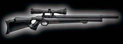 В более современной модели FX Monsoon резервуар со сжатым воздухом переместился из приклада под ствол винтовки