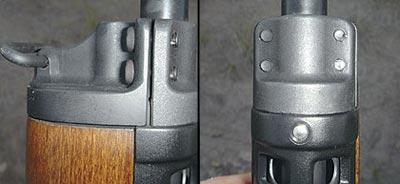 До 580-й серии на Мини-14 часто можно было заметить плохое прилегание газоотвода, как это показано на фото. Газоотвод скрепляется четырьмя винтами. В новых винтовках газоотводы гораздо более единообразны.