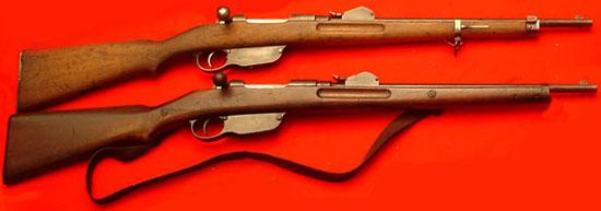 Steyr Mannlicher M1890 Cavalry Carbine (снизу) и Steyr Mannlicher M1890 Gendarmerie Carbine (сверху)