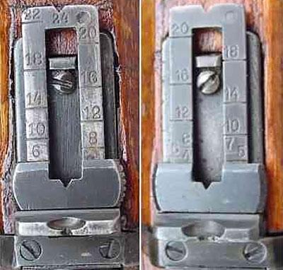 Прицелы штуцера Steyr Mannlicher M1895 (слева) и M1895/30 (справа). На модели M1895 дальность указывалась в шагах, а на M1895/30 - в метрах.