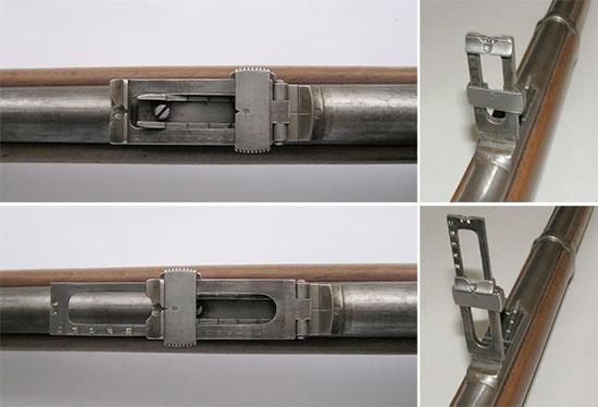 Прицелы используемые в винтовках Верндля до (сверху) и после (снизу) 1877 года