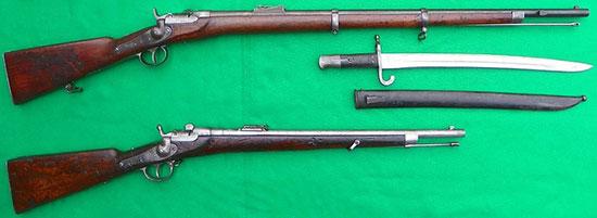 Винтовка (сверху) и карабин (снизу) Werndl M1867