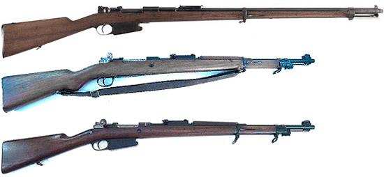 Сверху - вниз: Mauser 1889, Mauser 1935, Mauser 1889/36