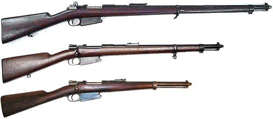 Сверху - вниз: винтовка образца 1889 года, артиллерийский карабин образца 1904 года, кавалерийский карабин образца 1892 года