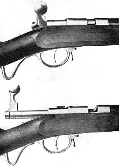 Затвор Mauser-Norris M 67/69 закрыт (сверху) и открыт (снизу)