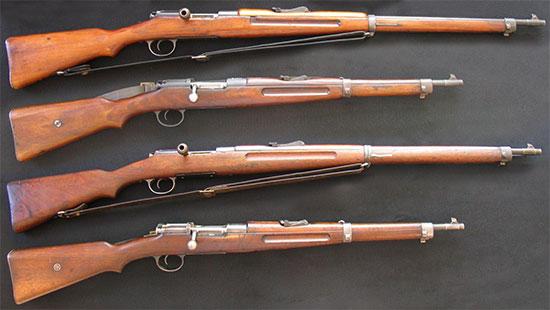 Сверху - винтовка и карабин Mannlicher-Schoenauer Υ1903, снизу - винтовка и карабин Mannlicher-Schoenauer Υ1903/14