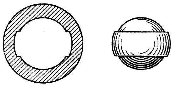 Пуля (справа) и разрез ствола (слева) Brunswick rifle