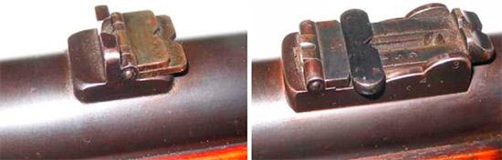 Прицел Enfield Pattern 1856 Artillery Carbine (слева) и Enfield Pattern 1861 Artillery Carbine Musketoon (справа)