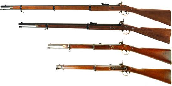 Сверху-вниз: Enfield Pattern 1853 Rifle Musket, Enfield Pattern 1856 Rifle, Enfield Pattern 1856 Artillery Carbine, Enfield Pattern 1856 Cavalry Carbine