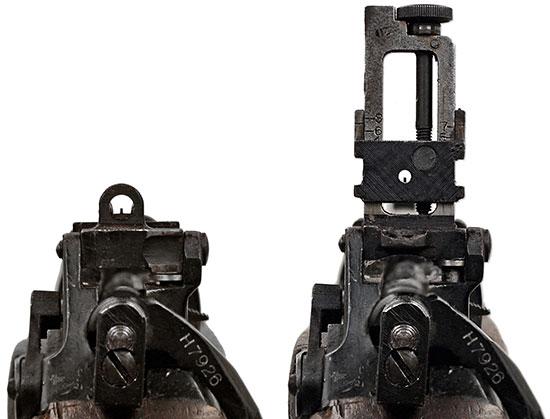 Прицел No.5 Mk I при стрельбе на дистанцию 100 ярдов (слева) и от 200 до 800 ярдов (справа)
