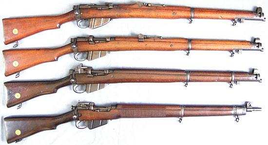 Сверху - вниз: SMLE Mk I, SMLE Mk III (No.1 Mk III), SMLE Mk V, No.1 Mk VI