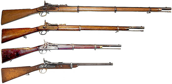 Сверху-вниз: Long Rifle, Short Rifle, Artillery Carbine, Cavalry Carbine