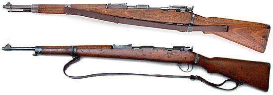 Infanterie Gewehr 98/40 (сверху) и Gyalogsagi Puska 43M (снизу). Хорошо видна разница в креплении штык-ножа и ремня