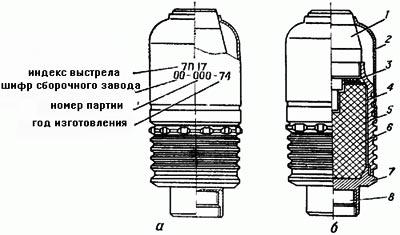 40-мм выстрел ВОГ-25: а - общий вид и маркировка; б - разрез; 1 - взрыватель; 2 - обтекатель; 3- прокладки; 4- картонная сетка; 5-корпус гранаты, 6-разрывной заряд ВВ; 7-дно гранаты; 8-пороховой метательный заряд