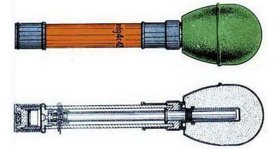 модернизированный вариант Wurfkorper 361 Leuchtpistole общий вид (сверху) и разрез (снизу)